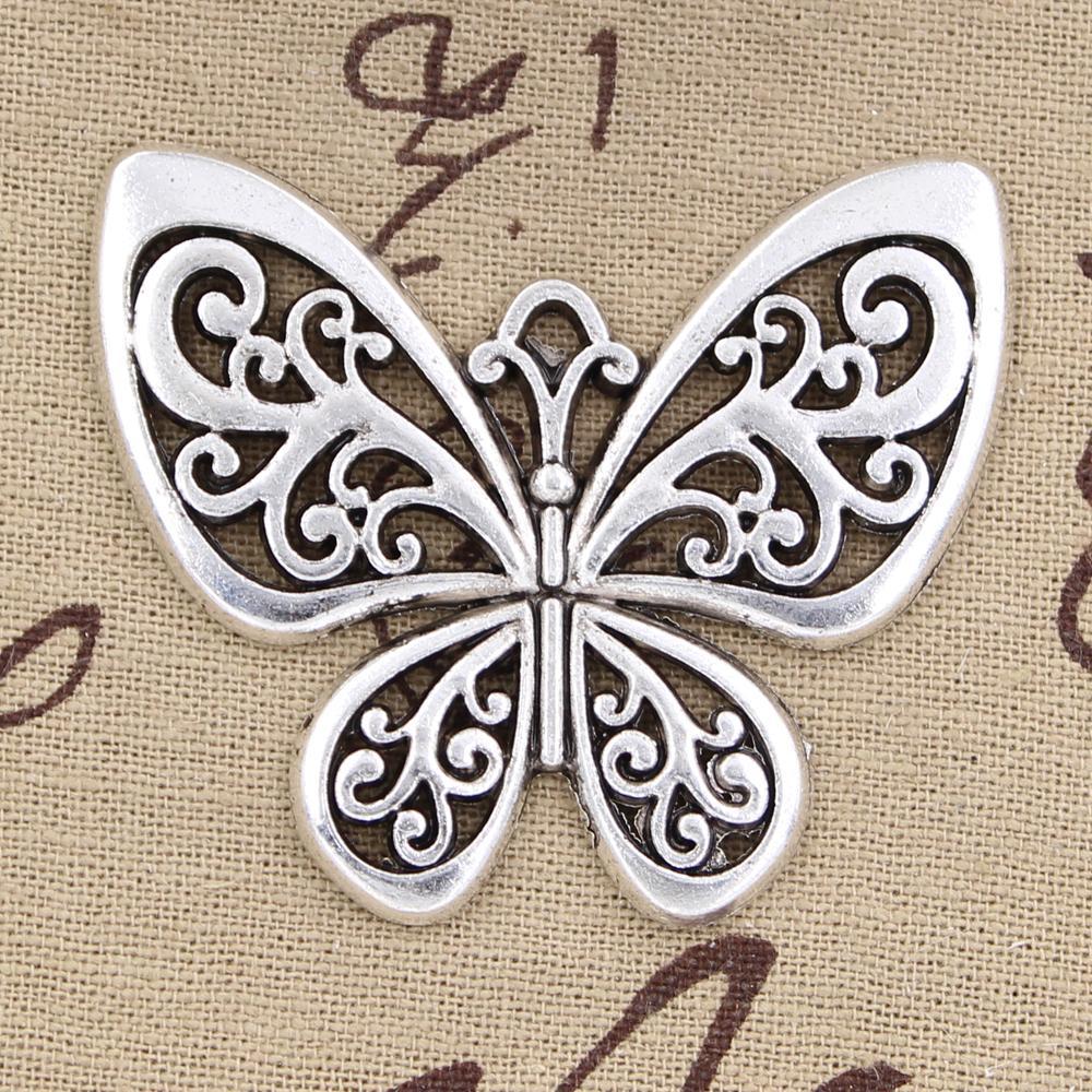 15pcs Подвески бабочка 50 * 57mm античные, цинковый сплав подвеска припадка, Vintage тибетского серебро, DIY для браслета ожерелья
