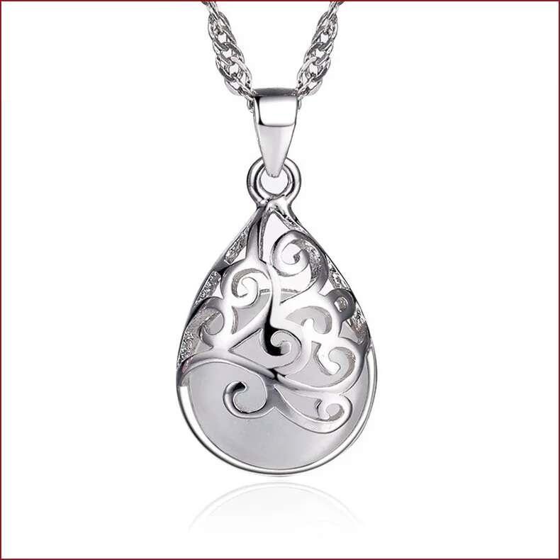 925 الفضة الاسترليني عناصر المجوهرات سحر قلادة بيان القلائد ضوء القمر العقيق حجر الزفاف العرقية خمر الأزياء