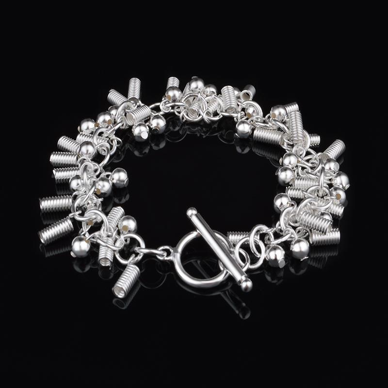 Livraison gratuite avec numéro de suivi Top Vente 925 Bracelet en argent ressort Accrochage et perles Bracelet Bijoux en argent 10pcs / lot pas cher 1571