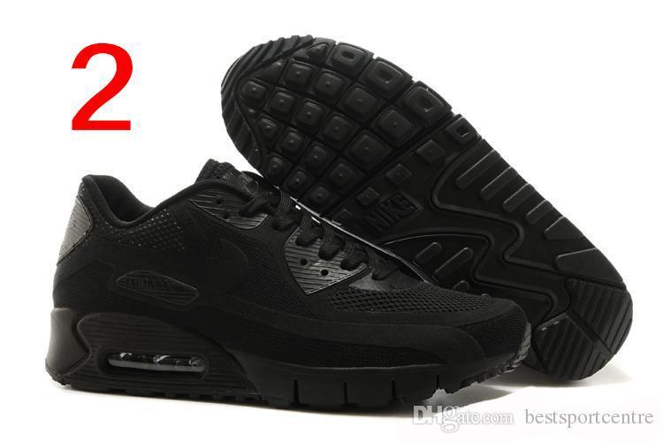 Compre Nike Air Max 90 Br Todos Negro De Zapatillas Deportivas De Los Hombres Baratos Zapatos Atléticos Del Exterior Transpirable Negro Azul Rojo