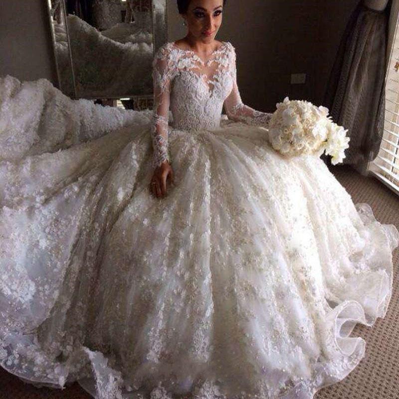 Elegant Charming Full Lace Wedding Dresses Cheap Vintage Long Sleeves Bridal Gown Muslim Ball Gown Vestidos De Novia Free Shipping