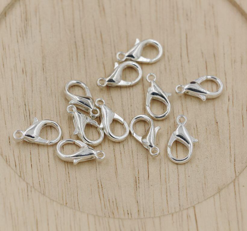 Caliente ! 10 mm 12 mm 14 mm 16 mm 18 mm chapado en aleación de plata cierres de langosta joyería de bricolaje