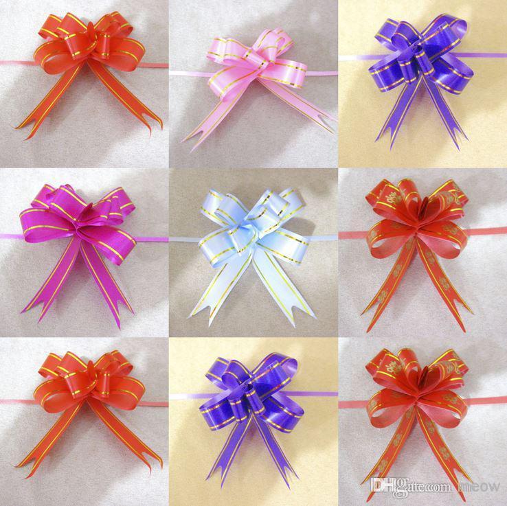 Pull Bows Wstążki Sztuczne Kwiaty Owijanie prezentów Boże Narodzenie Wedding Party Decoration Pulkbows 1.8 * 35cm Wedding 2015 Nowy