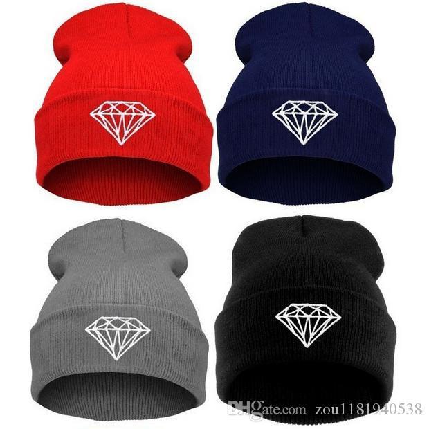 핫 세일 겨울 모자 모자 비니 모자 니트 모자 여성 모자 모자 다이아몬드 자수 따뜻한 보리 유니섹스 송료 무료