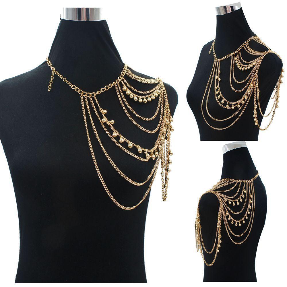 الذهب مثير الكتف سلسلة الجسم قلادة المرأة متعدد الطبقات الملحقات الجسم أكتاف الأزياء والمجوهرات بالجملة