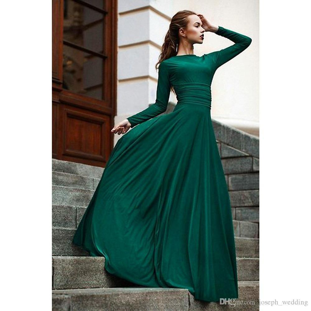 Compre 2019 Nuevos Vestidos De Noche Elegantes De Color Verde Oscuro Vestidos De Manga Larga Vestidos De Fiesta Largos Y Modestos Vestido De Noite
