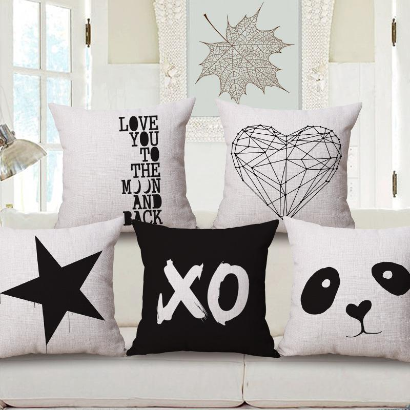 Pleasing Modern Minimalism Geometric Deer Panda Heart Love Arrow Cushions Pillows Covers Decorative Sofa Seat Cushion Cover Linen Cotton Pillow Case Seat Inzonedesignstudio Interior Chair Design Inzonedesignstudiocom