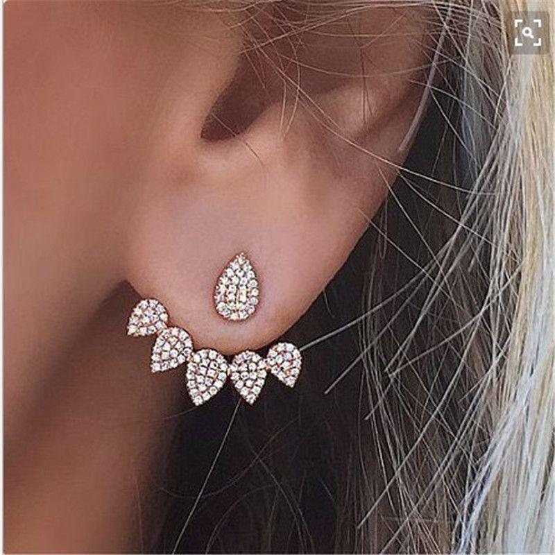 Doppelseitiger Bolzen-Ohrring für Frauen Piercing Earing Schmucksache-Art- und Weisesilberne Goldfarben-Rhinestone-Kristallwasser-Tropfen-Bolzen-Ohrring
