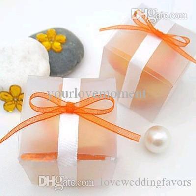 100pcs / lot 5cm * Wedding 5cm * 5 centimetri Cancella / opaco di colore della scatola di favore della decorazione di Natale Confezioni Regalo di decorazione di cerimonia nuziale di caramella ..
