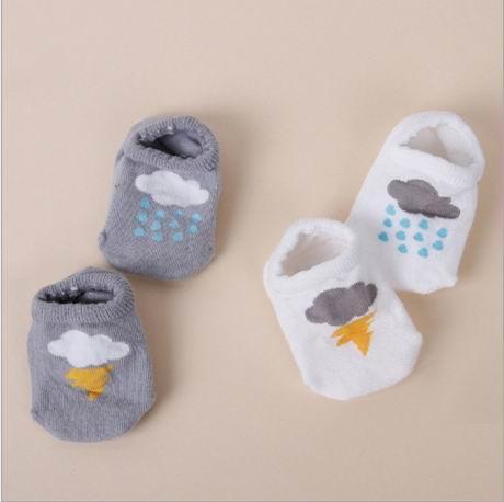 Calzini per bambini Calzini corti antiscivolo in cotone con nuvole di fulmini per bambini 0-4T 15057