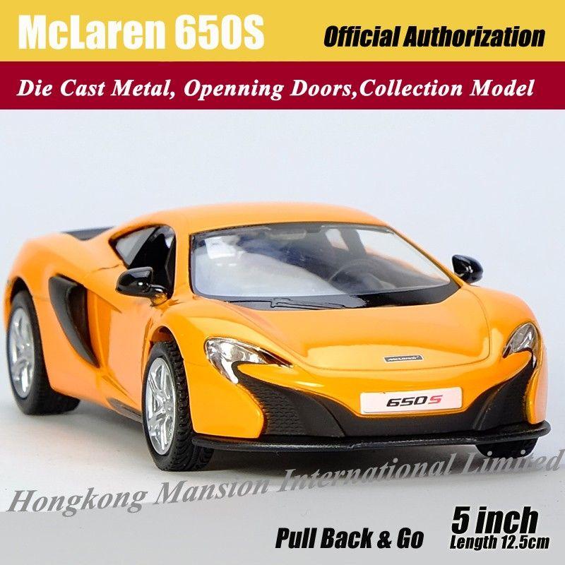 Échelle 1:36 alliage modèle de voiture en métal moulé sous pression pour McLaren 650S Collection Modèle Pull Back Roadster Jouets voiture -Orange / Bleu / Blanc / Jaune