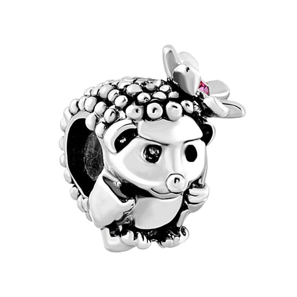 Rhodium Silver Color Plating Hedgehog With pink Rhinestone Flower Bead European Animal Charm Fit Pandora Bracelet