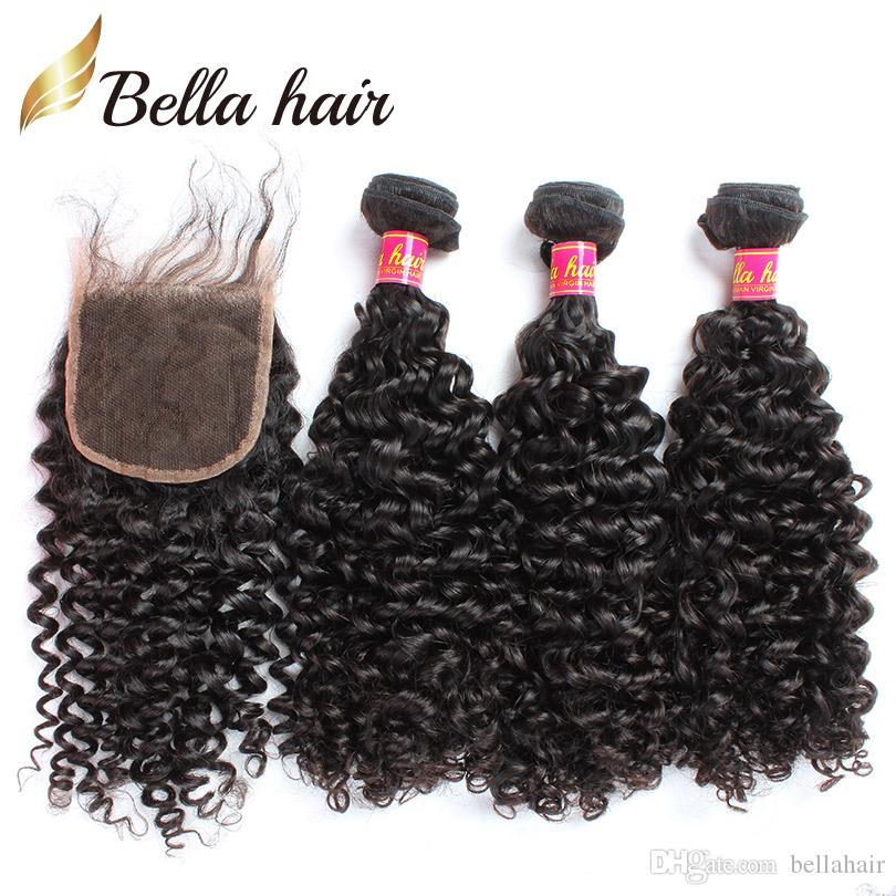 Hårlåsning med buntar Curly Weave Hair Extensions Malaysiska Human Virgin Hair Weaves Closure (4x4) Naturfärg Bellahair Wefts