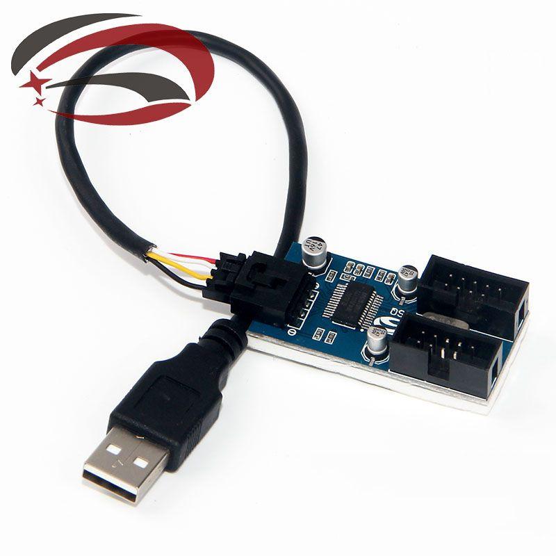 USB A Erkek Dahili 2-Port Dupont 9Pin Erkek Adaptörü Dönüştürücü Splitter PCB Soket Genişletici Kablo İçinde 20 cm
