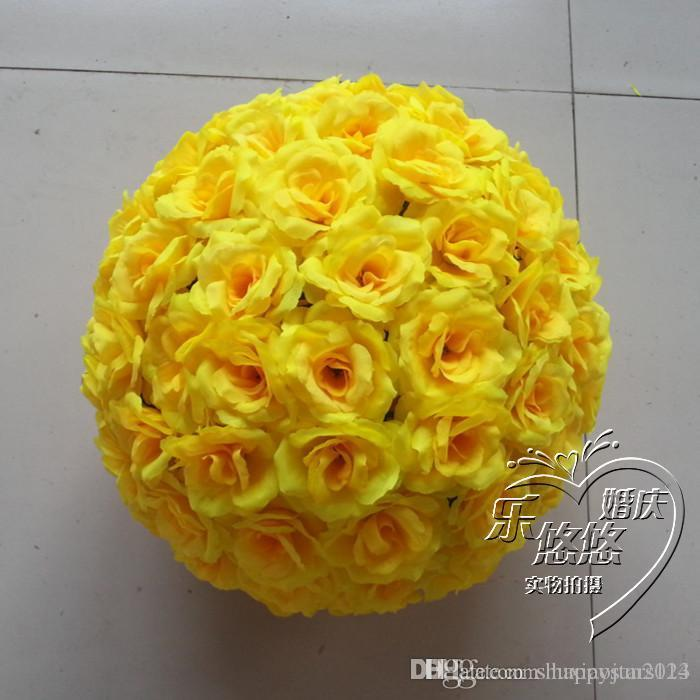 6Inch 15 CM New Artificial Yellow Rose Silk Flower Kissing Balls For Christmas Ornaments Wedding Party Decorations Supplies
