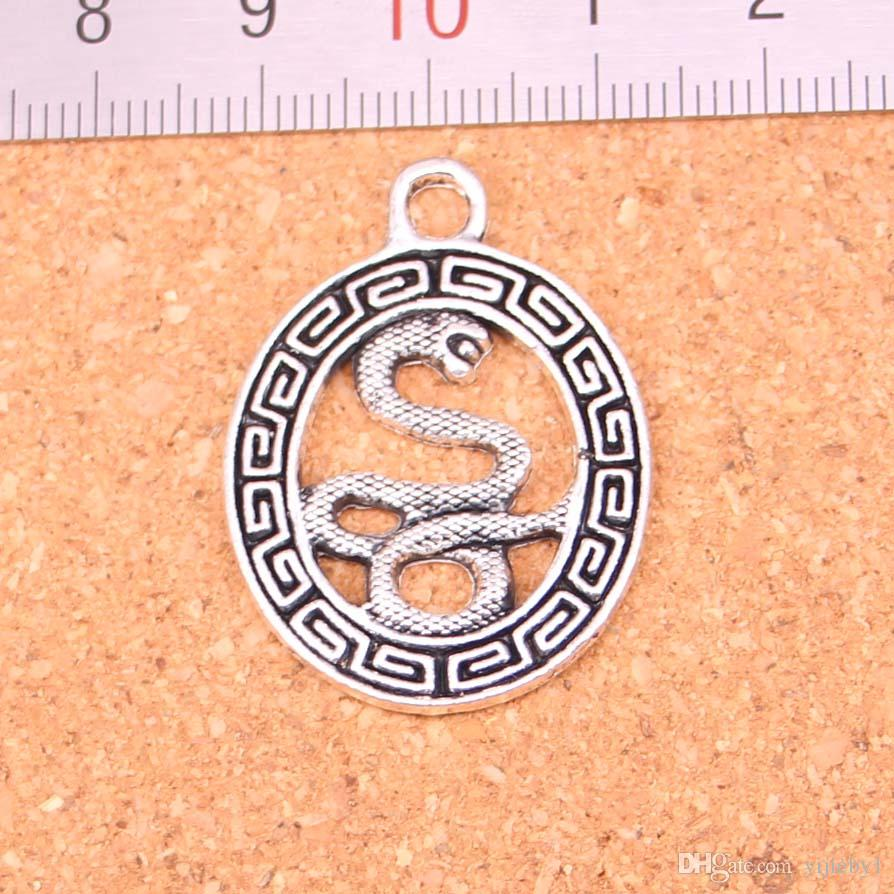 49pcs Antique silver Charms snake totems Pendant Fit Bracelets Necklace DIY Metal Jewelry Making 34*25mm