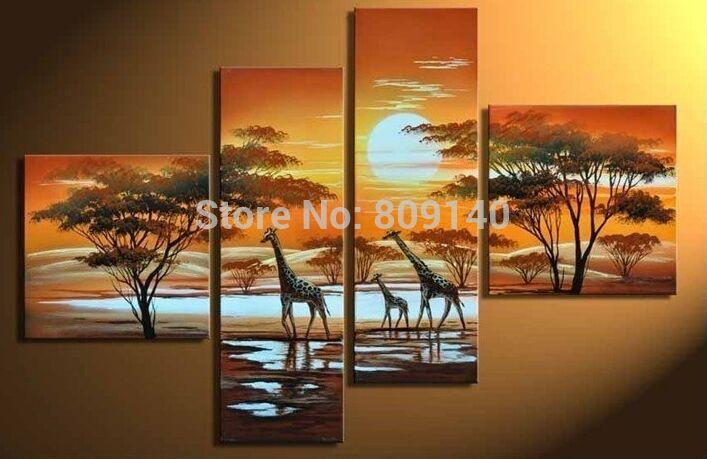 Home Art Wall Decor African Landscape Giraffes Oil Painting Printed On Canvas