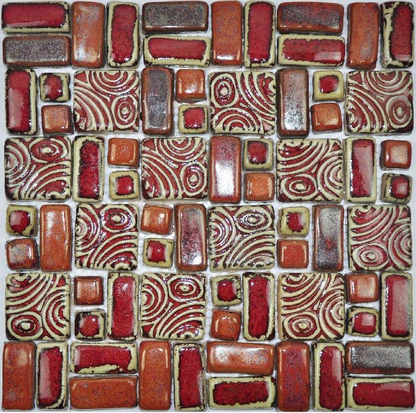 Ręcznie Craft Red Porcelan Mozaiki Płytki Backsplash Kuchnia Płytka ścienna PCMT078 ceramiczna mozaika łazienki płytki