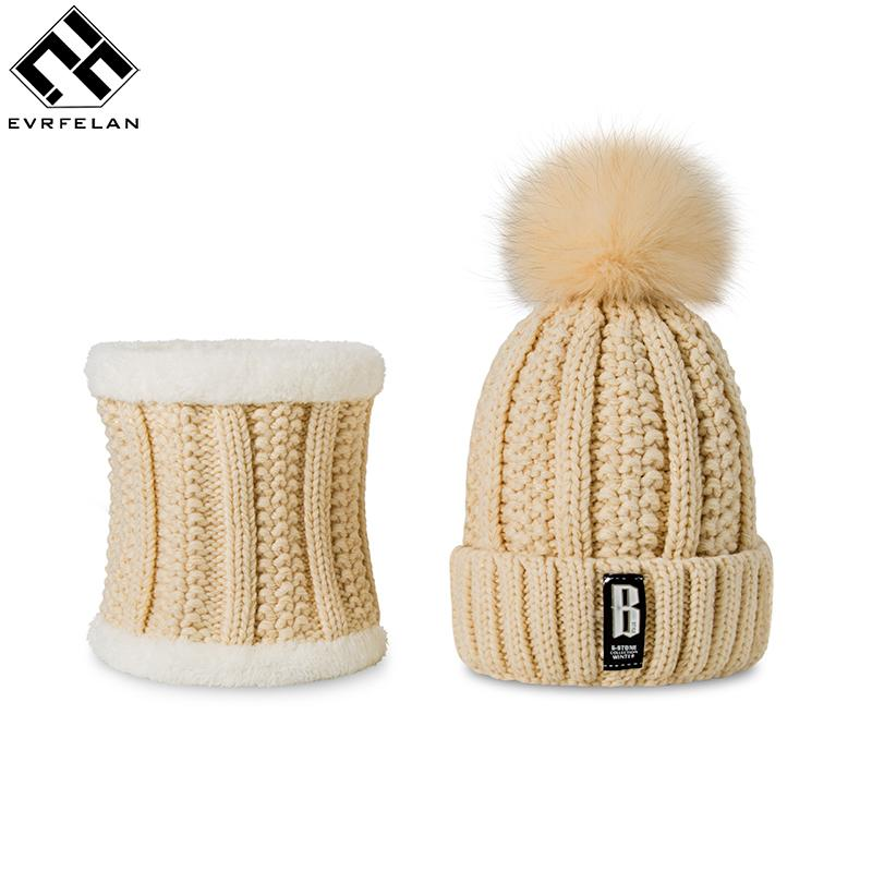Evrfelan 2 Pieces Set New Winter Hat And Scarf For Women Winter Scarf Cotton Female Winter Hat Casual Solid Color Hat And Scarf