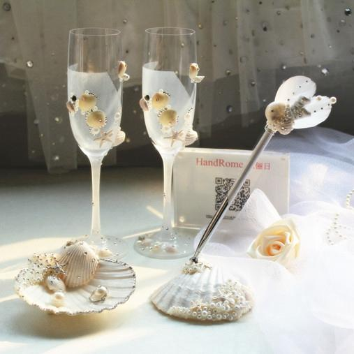 2015 Shell Wedding Decorations Beach Wedding Supplies Champagne Flutes Crystals Beadings Handamde Pen Sets Ring Pillows Wine Glass Country Wedding