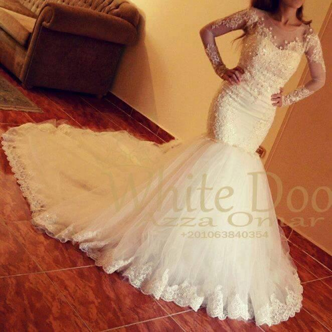 2016 robes de mariée sirène avec manches longues pure sirène encolure ronde perlée appliques de dentelle chapelle train robes de mariée