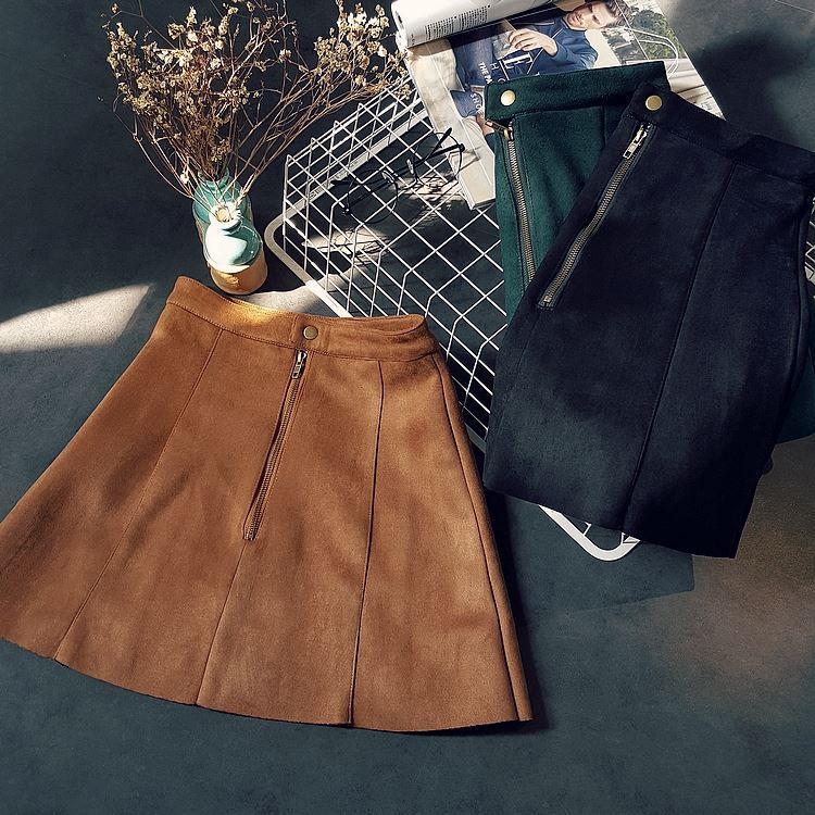 automne hiver court daim jupes femme au-dessus du genou mode solide noir une ligne jupe taille haute mini jupe vert