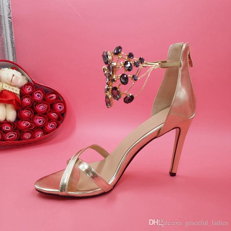 골드 / 실버 라인 석 웨딩 신발 발목 샌들 Criss 크로스 스타일 여름 스타일 숙 녀 샌들 Bule / Clear Crystals 플러스 신부 신발