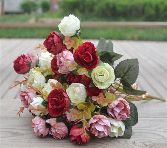 Jedwab Róża Kilka 30 CM / 11.81 cali Piwonia Bukiet ślubny Wedding Party Centerpiece Home Decoration Sztuczne Kwiat Głowy / Układ Busha