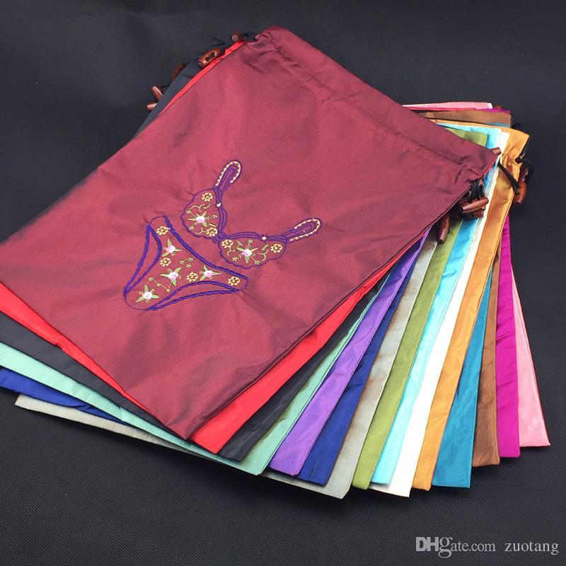Fine broderad Travel Bra Underkläder Bag Förvaringsväska Högkvalitativa Silk Cloth Drawstring Väskor Förpackning Påse Partihandel 50st / Lot