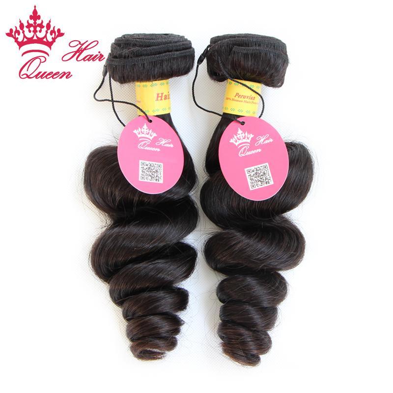 Qieen Cheveux produits Péruvienne vierge cheveux Lâche vague 100% de cheveux humains 2 pcs / lot Livraison gratuite par DHL