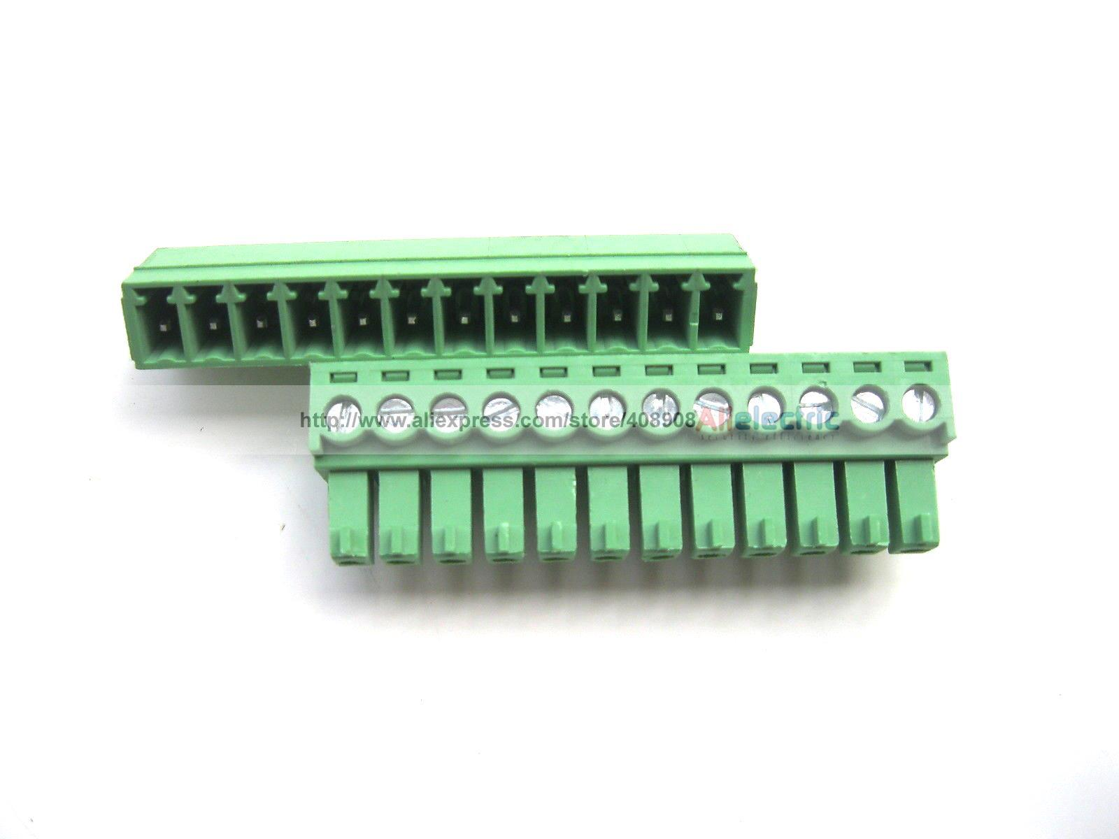 30 Pcs Screw Terminal Block Connector 3.81mm 12 Pin Green Pluggable Type