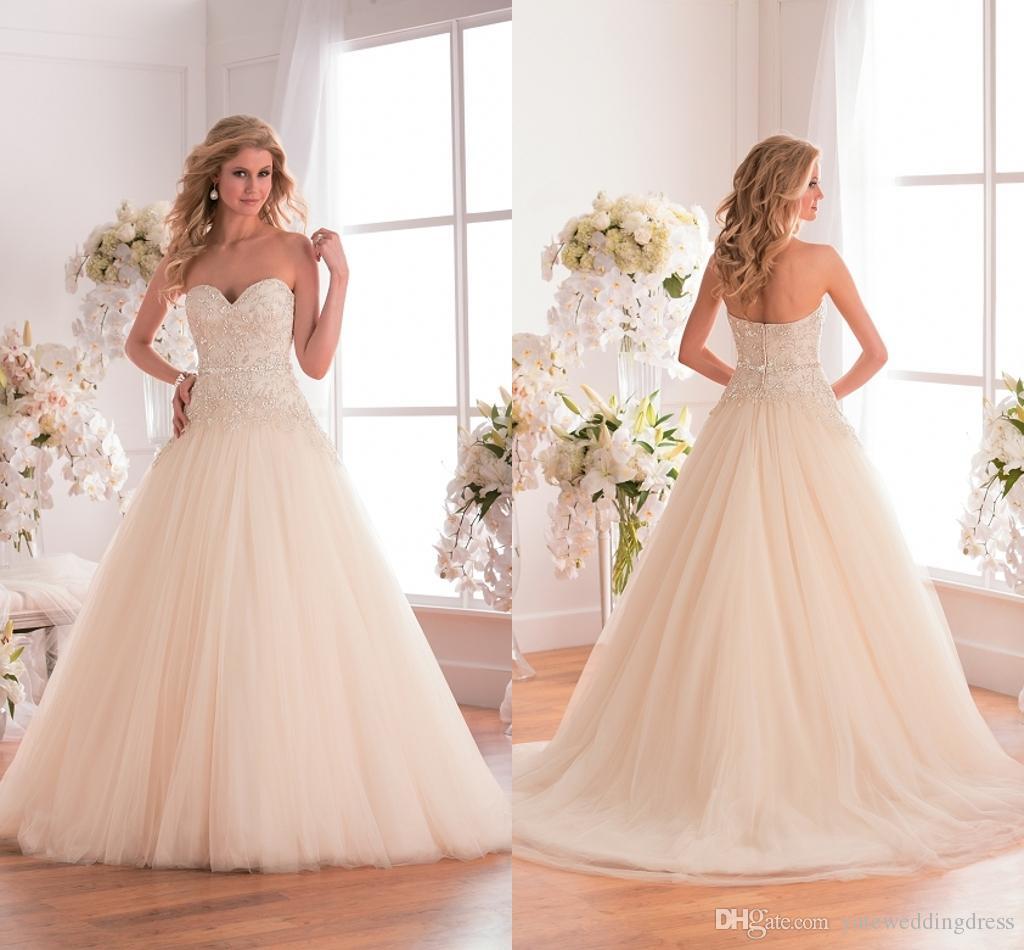 Skräddarsydda appliqued bröllopsklänningar spetsar en linje golv längd dragkedja tulle brudklänning elfenben beading strapless sexig bröllopsfest