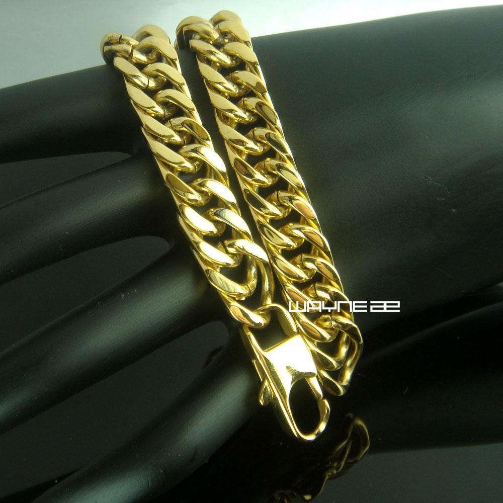 Homens Tom de Ouro em aço Inoxidável 21 cm de Comprimento 10mm de Largura Pesado Pulseira B171