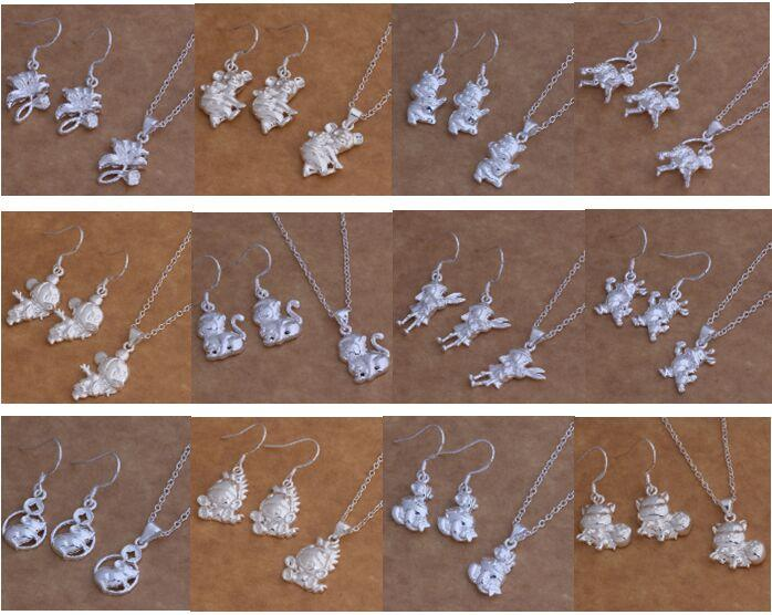 Free Shipping with tracking number New Fashion women's charming jewelry 925 silver 12 mix jewelry set 1449