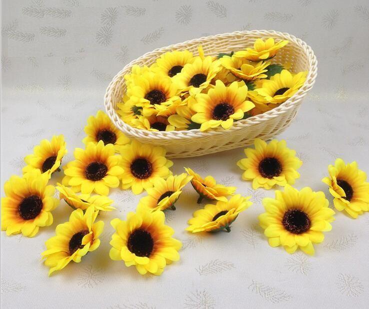 """100pcs 2.8 """"cabeza de flor de seda artificial de los brotes del girasol para la decoración casera del ramo nupcial de la boda"""