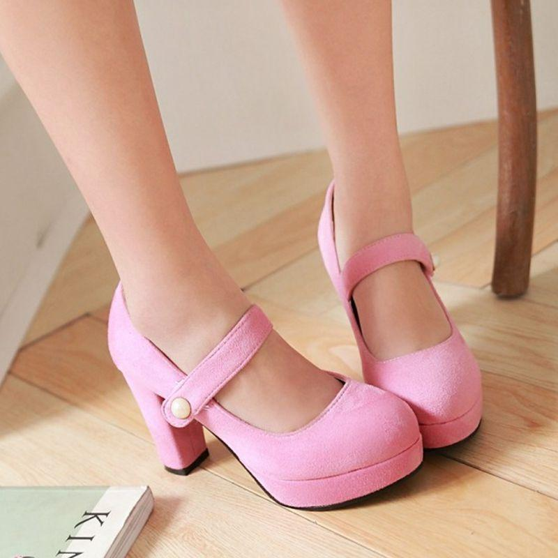 Shallow Low Chunky Heels Shoes Platform Shoes Women'S Shoes Suede ...