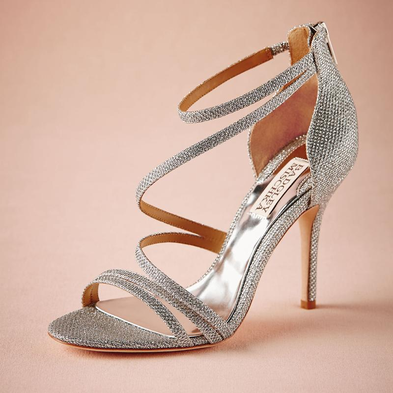 Beautiful 2015 Vintage Wedding Shoes Plus Size Silver Covered Back Zipper High Thin  Heels Summer Sandals Fashion