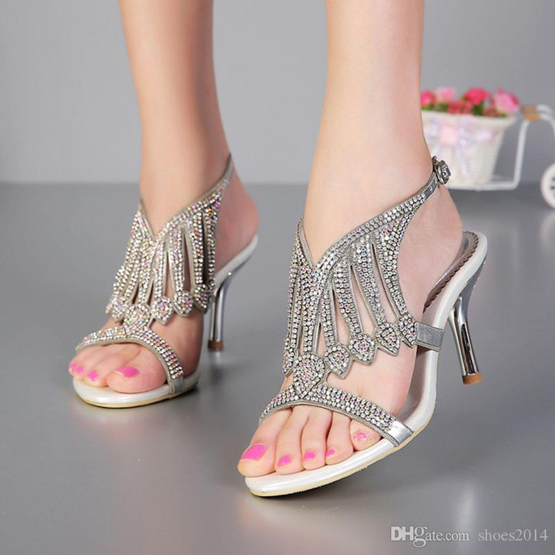 2015 Open Toe 3 Inches Summer Sexy High Heel Sandals Silver
