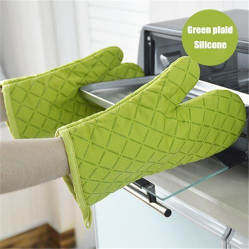 2ピースの新しいキッチンクッキング手袋電子レンジのオーブン滑り止めミット耐熱シリコーンコットングローブ調理ベーキングバーベキューオーブンポットホールデ