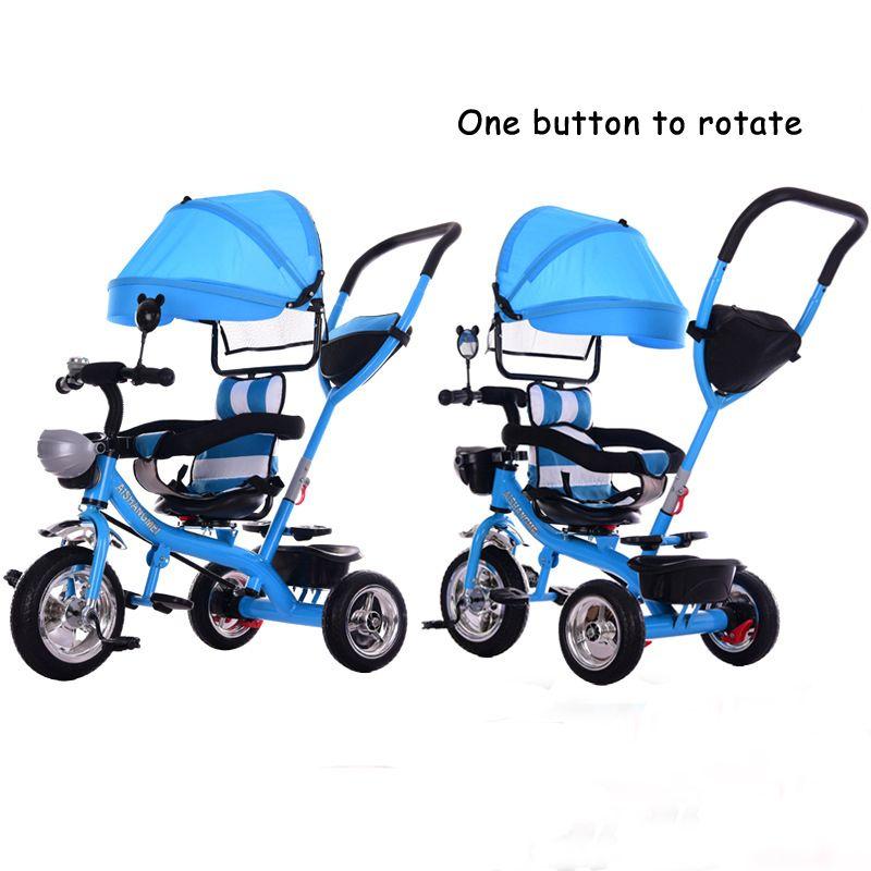 Orijinal bebek arabası çocuk üç tekerlekli bisiklet sürücü 1-3 döndürmek için bir düğme 4 yaşındaki bebek arabası üç tekerlekli bebek arabası geri dönüşümlü koltuk
