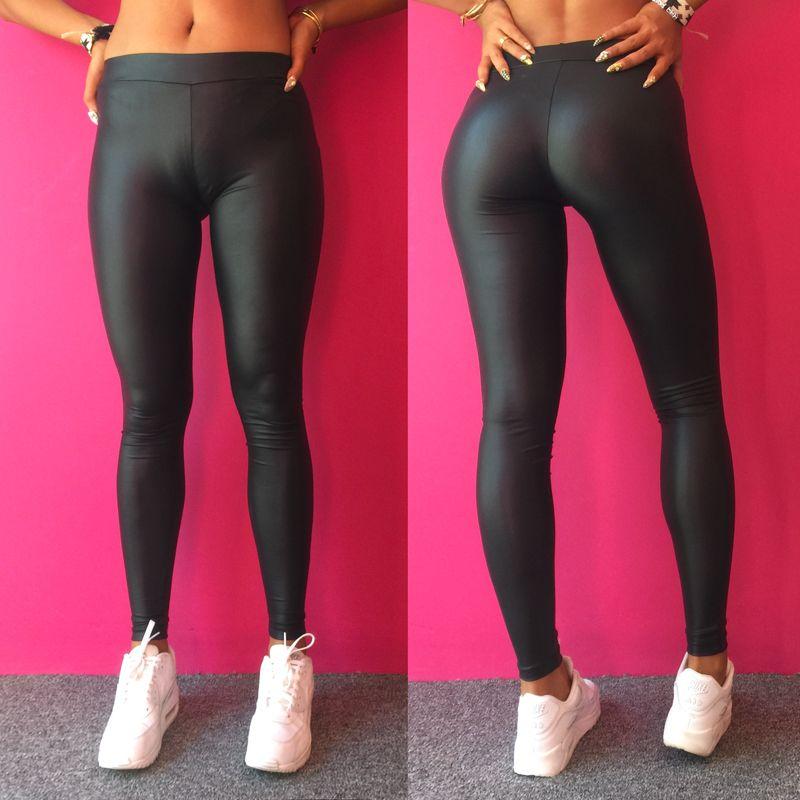 0bc18853547234 Wholesale-Sexy Women Faux Leather Leggings Workout Sport Jogger Pencil Hot  Pants Capris Lady Trousers Gym Jeggings