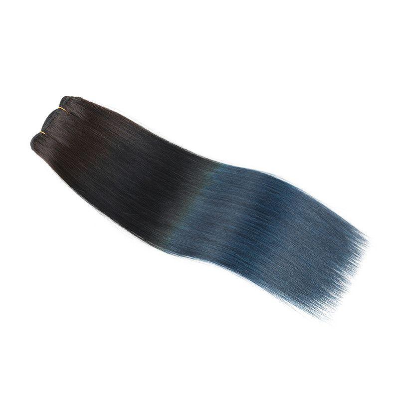 1B Bleu Foncé Ombre Vierge Brésilienne de Cheveux Humains Tisse 3Pcs Soie Droite Deux Tons Ombre Faisceaux de Cheveux Humains Offres Tangle Free