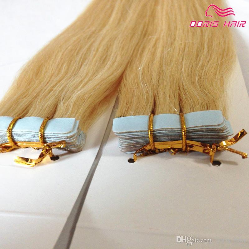Blond 613 remy Tape extensions de cheveux 40pcs beaucoup pleine tête peau trame Bande en Extension de cheveux humains
