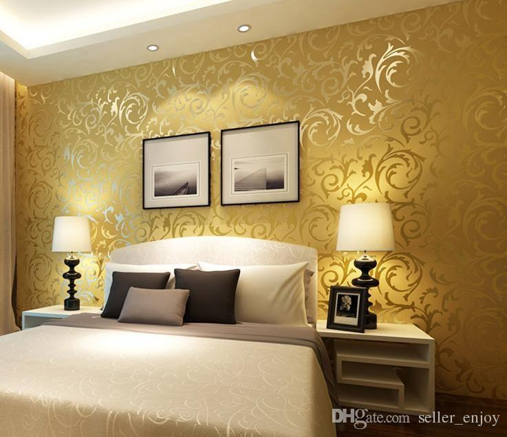 3d European Waterproof Living Room Wallpaper Bedroom Sofa Tv Backgroumd Of Wall Paper Roll Silver Color Wall Sticker Images As Wallpaper Images For