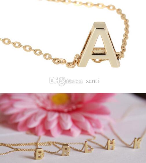 Fashion Hot Letter name Initial chain Pendant Fashion Necklace A-Z Gold plate