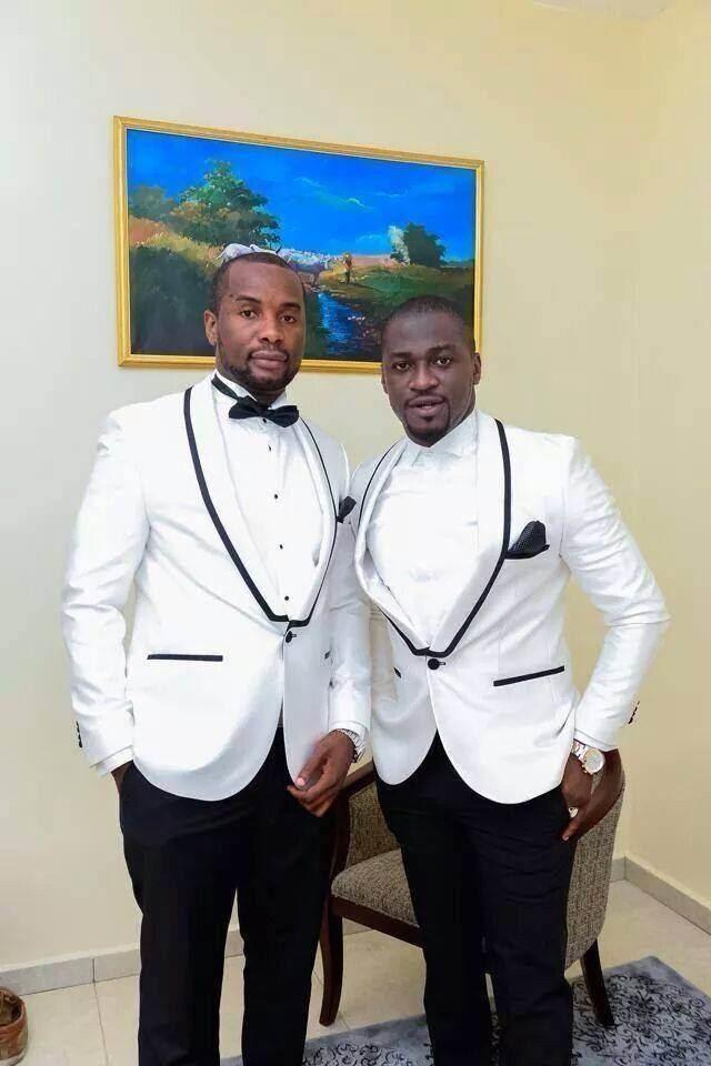 White Mens Jacket Black Pants Groom Groomsmen Tuxedos Slim Fit Mens Wedding Formal Prom Suits With Black Trim Lapel Jacket+Pants+Bow Tie Men In Formal
