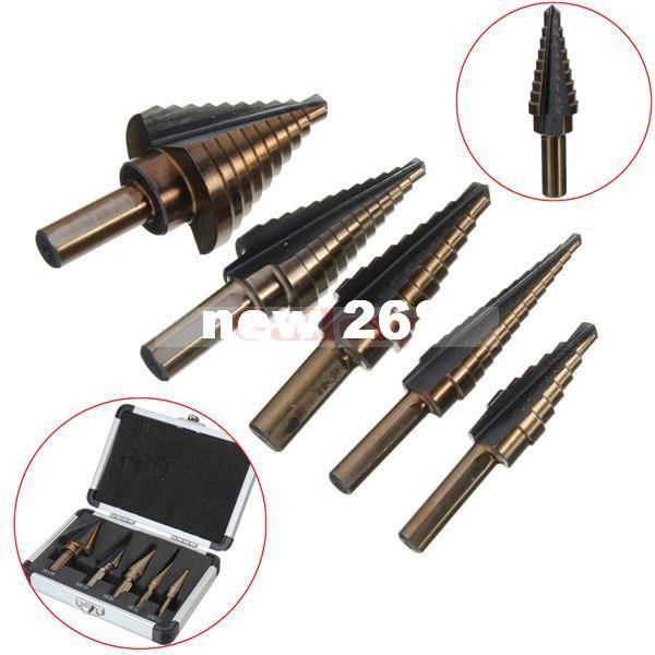 5 개 HBS 코발트 다중 홀 50 크기 단계 드릴 비트 알루미늄 케이스 세트 키트 드릴 비트 드릴 비트 Forstner Drill Bits