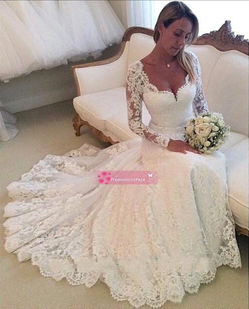 2020 Самые романтические кружева свадебные платья выполненные на заказ Милая Длинные рукава Открытый Назад Часовня Свадебные платья плюс размер BO7302