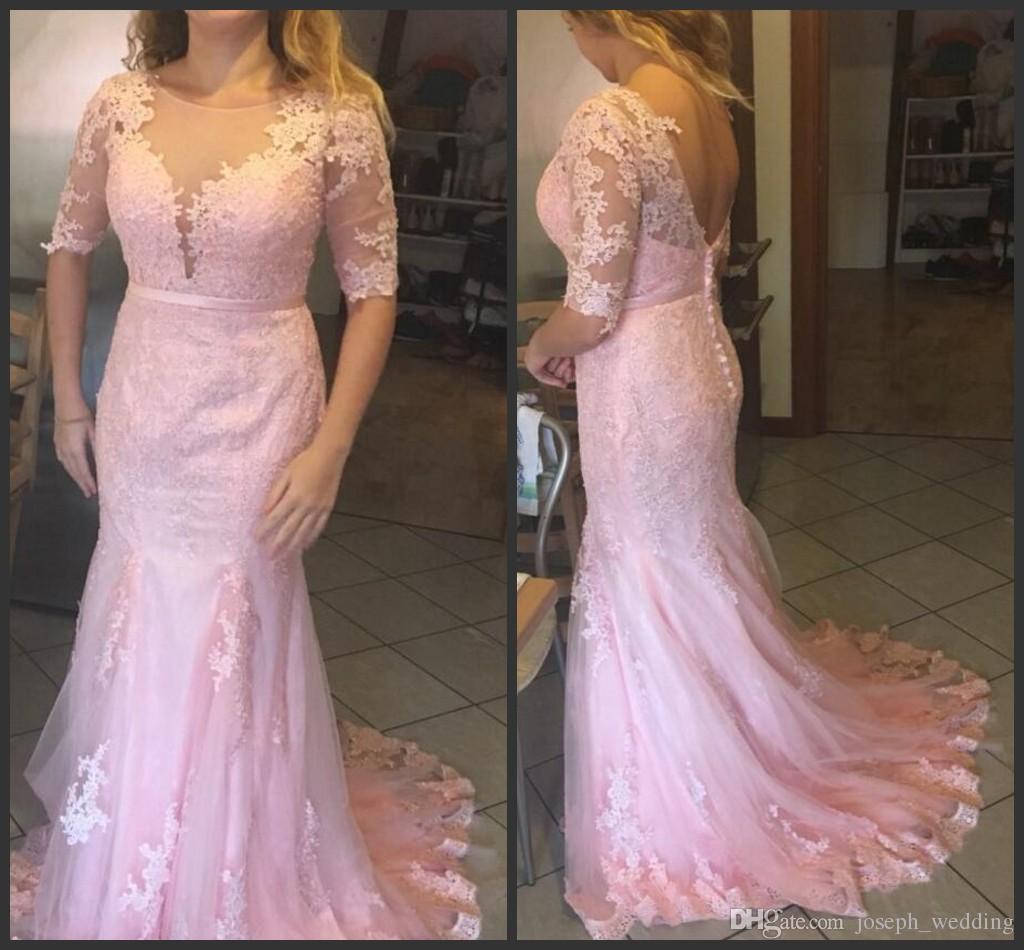 Frete Grátis Rosa Vestidos de Baile Colher Pescoço Vestidos de noiva Apliques de Trem Da Varredura Formal Vestidos de Noite Robe de Soiree