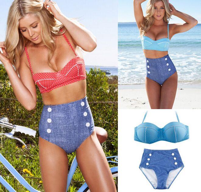 2014 nouveau cowgirl r tro po push up polka dot bikini maillot de bain pour les femmes vintage. Black Bedroom Furniture Sets. Home Design Ideas